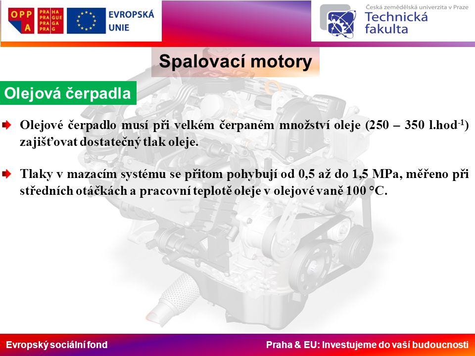 Evropský sociální fond Praha & EU: Investujeme do vaší budoucnosti Spalovací motory Olejová čerpadla Olejové čerpadlo musí při velkém čerpaném množstv