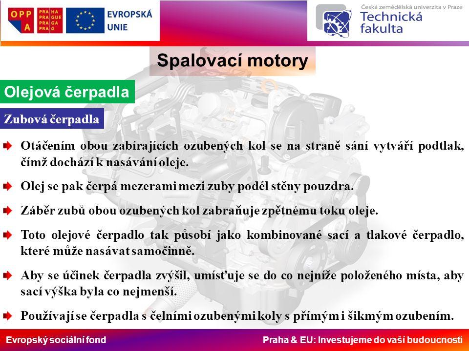 Evropský sociální fond Praha & EU: Investujeme do vaší budoucnosti Spalovací motory Olejová čerpadla Otáčením obou zabírajících ozubených kol se na st