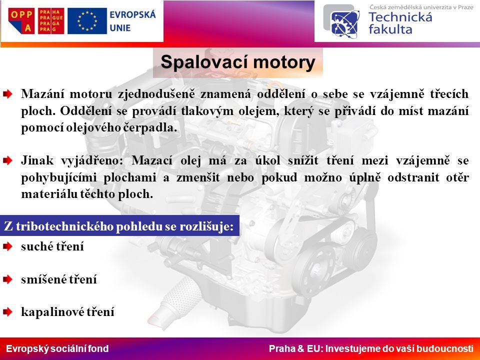 Evropský sociální fond Praha & EU: Investujeme do vaší budoucnosti Spalovací motory Mazání motoru zjednodušeně znamená oddělení o sebe se vzájemně tře
