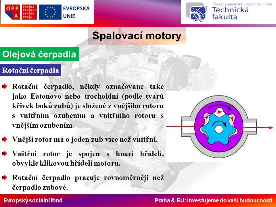 Evropský sociální fond Praha & EU: Investujeme do vaší budoucnosti Spalovací motory Olejová čerpadla Rotační čerpadlo, někdy označované také jako Eato