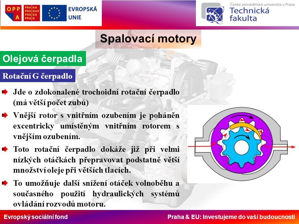 Evropský sociální fond Praha & EU: Investujeme do vaší budoucnosti Spalovací motory Olejová čerpadla Jde o zdokonalené trochoidní rotační čerpadlo (má