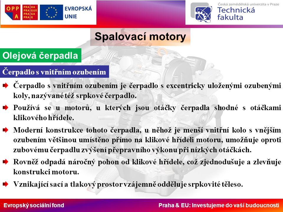 Evropský sociální fond Praha & EU: Investujeme do vaší budoucnosti Spalovací motory Olejová čerpadla Čerpadlo s vnitřním ozubením je čerpadlo s excent