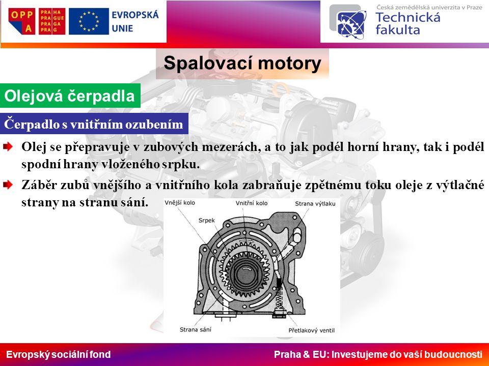 Evropský sociální fond Praha & EU: Investujeme do vaší budoucnosti Spalovací motory Olejová čerpadla Olej se přepravuje v zubových mezerách, a to jak