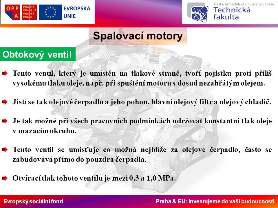 Evropský sociální fond Praha & EU: Investujeme do vaší budoucnosti Spalovací motory Obtokový ventil Tento ventil, který je umístěn na tlakové straně,