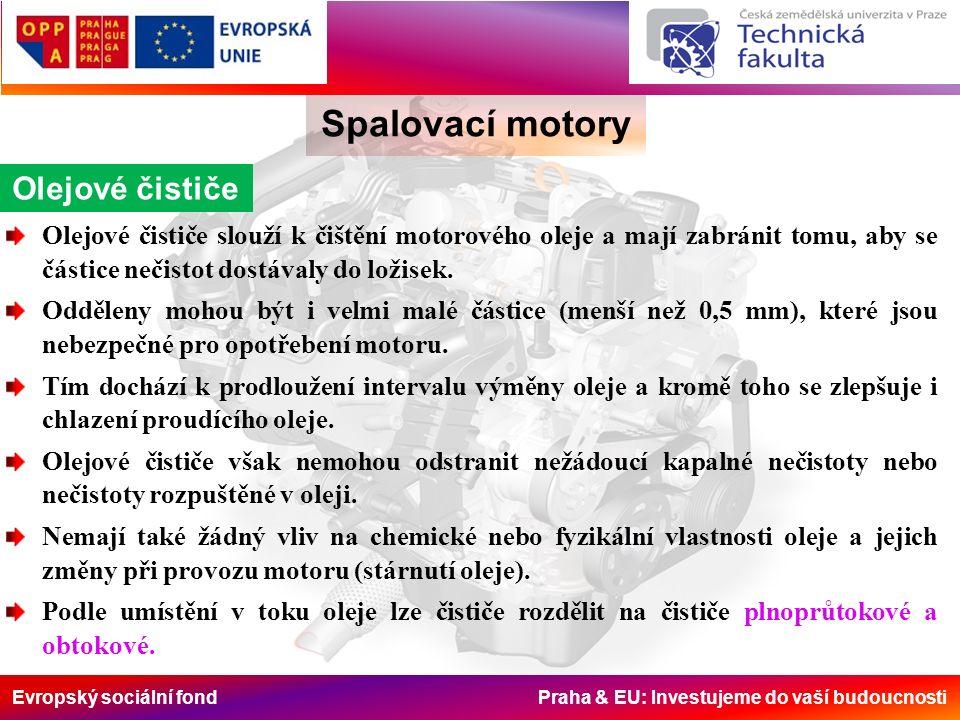 Evropský sociální fond Praha & EU: Investujeme do vaší budoucnosti Spalovací motory Olejové čističe Olejové čističe slouží k čištění motorového oleje
