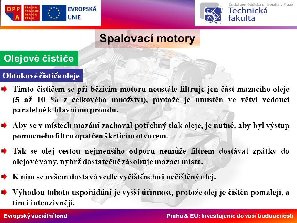 Evropský sociální fond Praha & EU: Investujeme do vaší budoucnosti Spalovací motory Olejové čističe Obtokové čističe oleje Tímto čističem se při běžíc