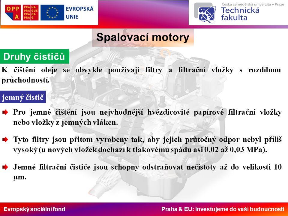 Evropský sociální fond Praha & EU: Investujeme do vaší budoucnosti Spalovací motory Druhy čističů K čištění oleje se obvykle používají filtry a filtra