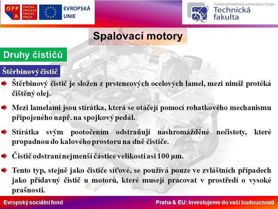 Evropský sociální fond Praha & EU: Investujeme do vaší budoucnosti Spalovací motory Druhy čističů Štěrbinový čistič je složen z prstencových ocelových