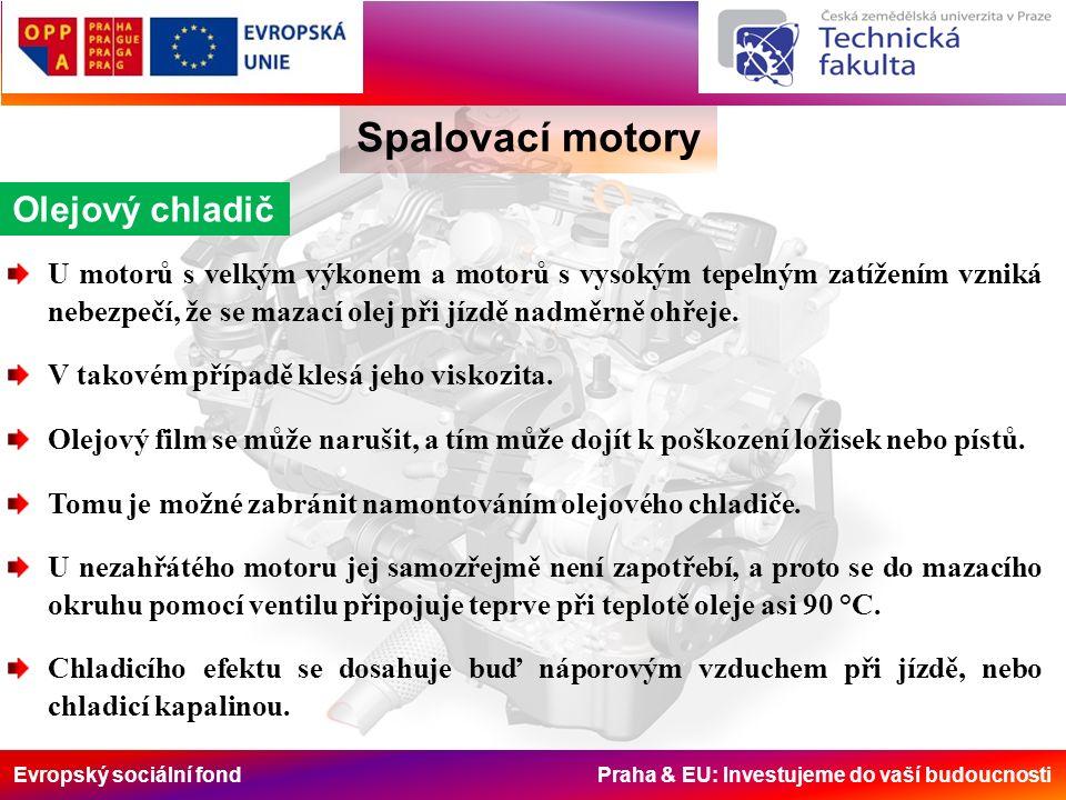 Evropský sociální fond Praha & EU: Investujeme do vaší budoucnosti Spalovací motory Olejový chladič U motorů s velkým výkonem a motorů s vysokým tepel