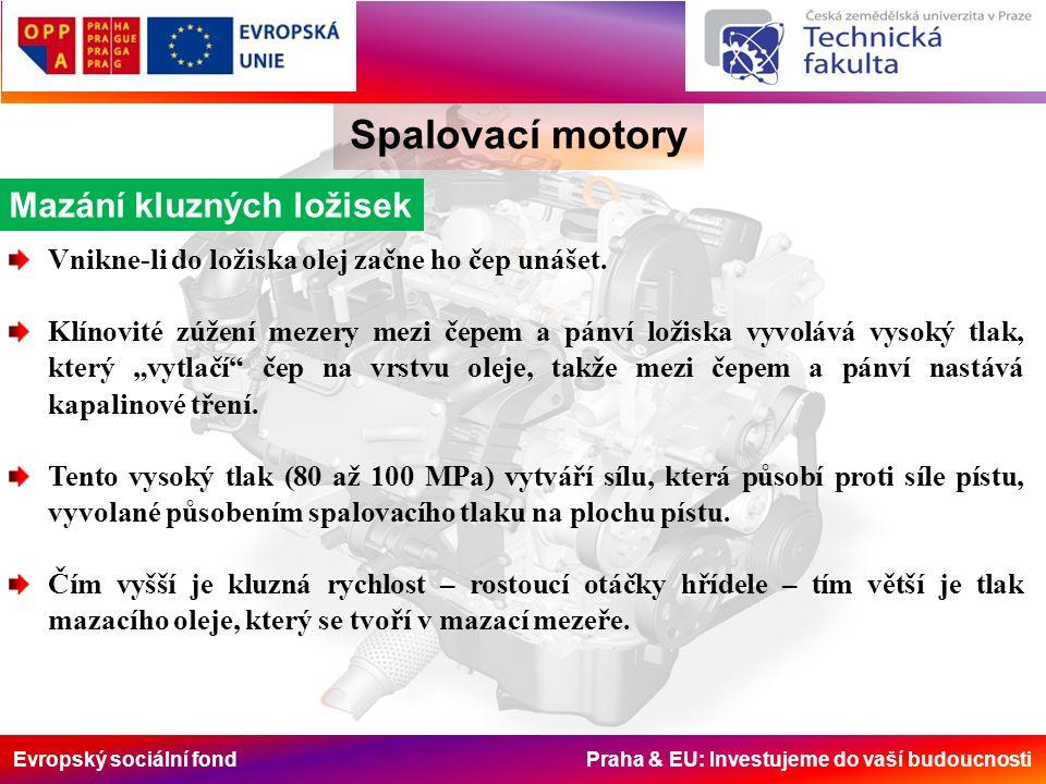 Evropský sociální fond Praha & EU: Investujeme do vaší budoucnosti Spalovací motory Vnikne-li do ložiska olej začne ho čep unášet. Klínovité zúžení me