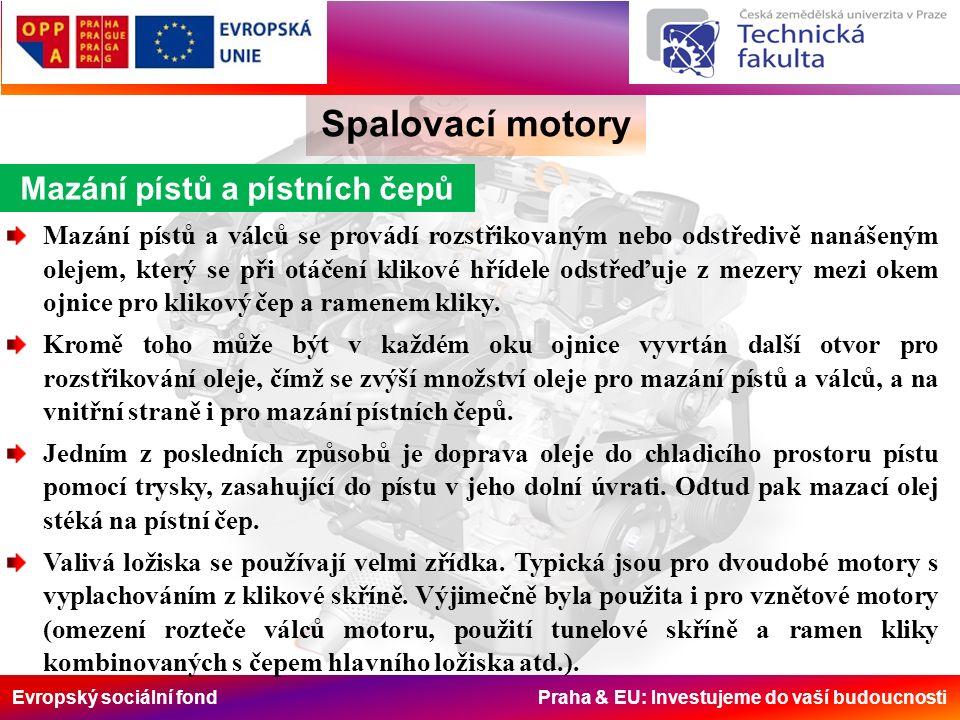 Evropský sociální fond Praha & EU: Investujeme do vaší budoucnosti Spalovací motory Mazání pístů a pístních čepů Mazání pístů a válců se provádí rozst