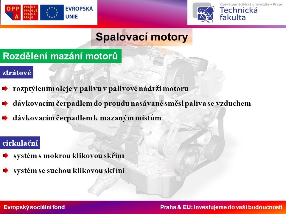 Evropský sociální fond Praha & EU: Investujeme do vaší budoucnosti Spalovací motory Rozdělení mazání motorů ztrátové rozptýlením oleje v palivu v pali