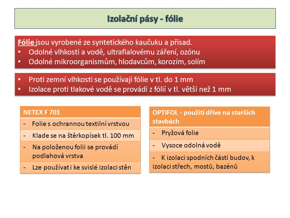 Fólie jsou vyrobené ze syntetického kaučuku a přísad.