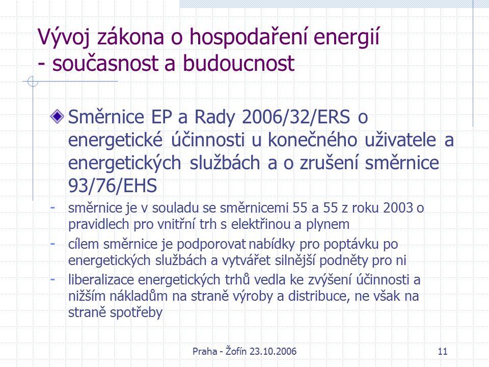 Praha - Žofín 23.10.200611 Vývoj zákona o hospodaření energií - současnost a budoucnost Směrnice EP a Rady 2006/32/ERS o energetické účinnosti u konečného uživatele a energetických službách a o zrušení směrnice 93/76/EHS - směrnice je v souladu se směrnicemi 55 a 55 z roku 2003 o pravidlech pro vnitřní trh s elektřinou a plynem - cílem směrnice je podporovat nabídky pro poptávku po energetických službách a vytvářet silnější podněty pro ni - liberalizace energetických trhů vedla ke zvýšení účinnosti a nižším nákladům na straně výroby a distribuce, ne však na straně spotřeby