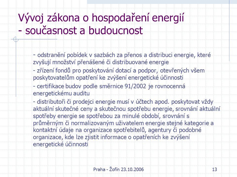 Praha - Žofín 23.10.200613 Vývoj zákona o hospodaření energií - současnost a budoucnost - odstranění pobídek v sazbách za přenos a distribuci energie, které zvyšují množství přenášené či distribuované energie - zřízení fondů pro poskytování dotací a podpor, otevřených všem poskytovatelům opatření ke zvýšení energetické účinnosti - certifikace budov podle směrnice 91/2002 je rovnocenná energetickému auditu - distributoři či prodejci energie musí v účtech apod.