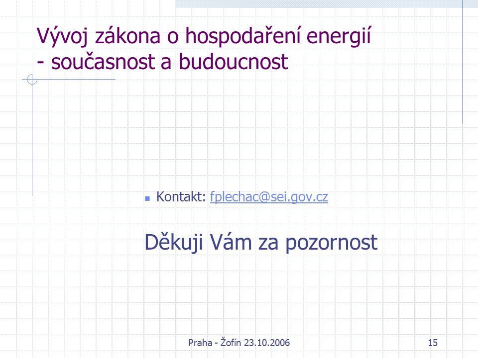 Praha - Žofín 23.10.200615 Vývoj zákona o hospodaření energií - současnost a budoucnost Kontakt: fplechac@sei.gov.czfplechac@sei.gov.cz Děkuji Vám za pozornost