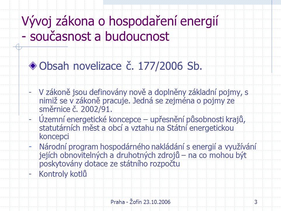 Praha - Žofín 23.10.200614 Vývoj zákona o hospodaření energií - současnost a budoucnost Příklady dostupných opatření ke zvýšení energetické účinnosti: - domácností a terciální odvětví – vytápění, chlazení, izolace, ventilace, teplá voda, osvětlení, vaření a chlazení atd.