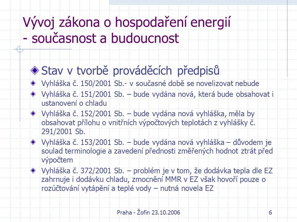 Praha - Žofín 23.10.20066 Vývoj zákona o hospodaření energií - současnost a budoucnost Stav v tvorbě prováděcích předpisů Vyhláška č.