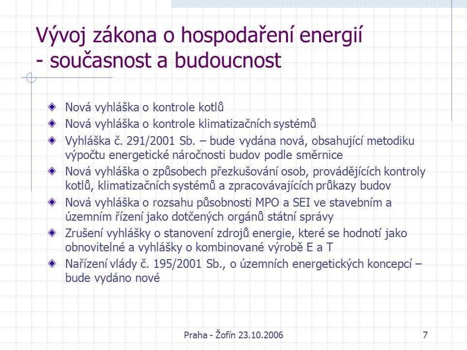 Praha - Žofín 23.10.20068 Vývoj zákona o hospodaření energií - současnost a budoucnost Výhled dalších novelizací zákona: Směrnice EP a Rady 2005/32/ES o stanovení rámce pro určení požadavků na ekodesign energetických spotřebičů – termín implementace 11.