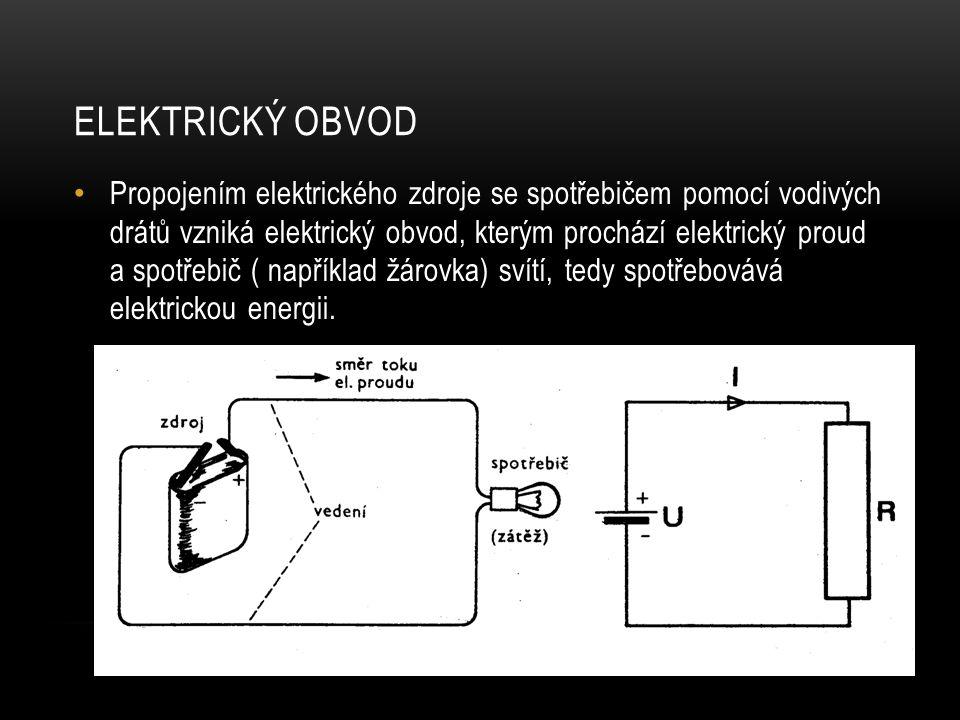 ELEKTRICKÝ OBVOD Propojením elektrického zdroje se spotřebičem pomocí vodivých drátů vzniká elektrický obvod, kterým prochází elektrický proud a spotř