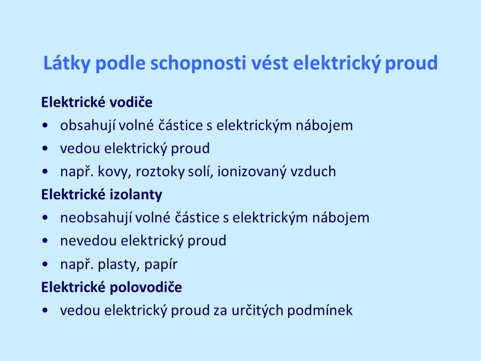Látky podle schopnosti vést elektrický proud Elektrické vodiče obsahují volné částice s elektrickým nábojem vedou elektrický proud např.