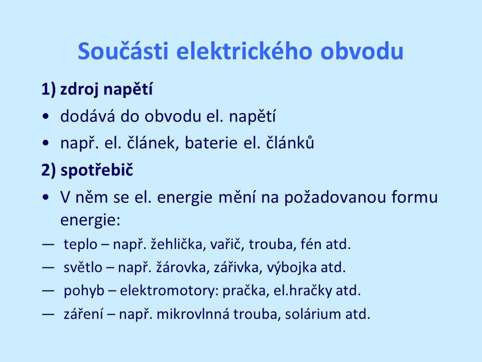 Součásti elektrického obvodu 1)zdroj napětí dodává do obvodu el.