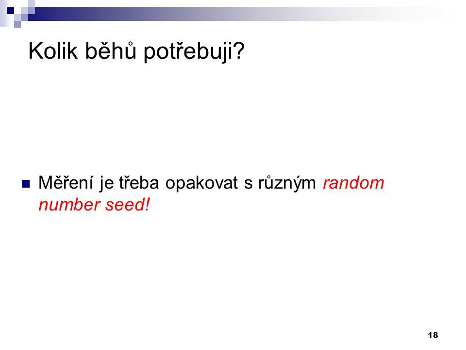 18 Kolik běhů potřebuji Měření je třeba opakovat s různým random number seed!