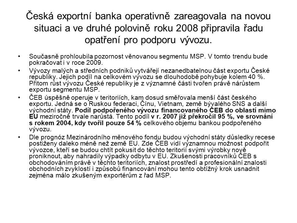 Česká exportní banka operativně zareagovala na novou situaci a ve druhé polovině roku 2008 připravila řadu opatření pro podporu vývozu. Současně prohl