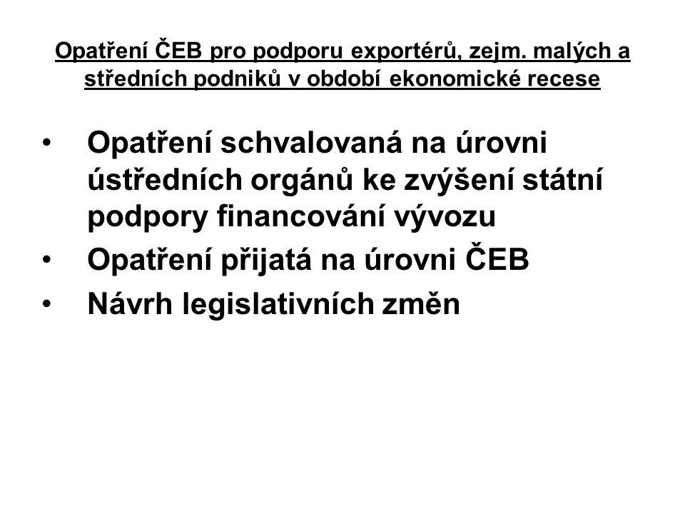 Opatření ČEB pro podporu exportérů, zejm. malých a středních podniků v období ekonomické recese Opatření schvalovaná na úrovni ústředních orgánů ke zv