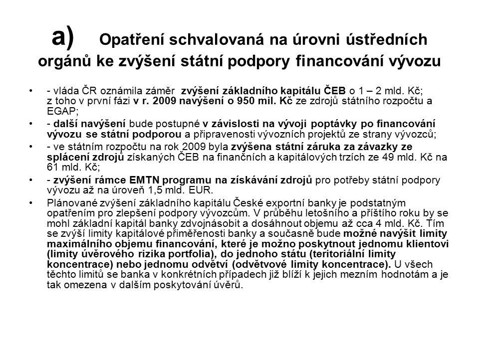 a) Opatření schvalovaná na úrovni ústředních orgánů ke zvýšení státní podpory financování vývozu - vláda ČR oznámila záměr zvýšení základního kapitálu ČEB o 1 – 2 mld.