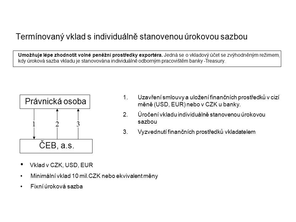 Termínovaný vklad s individuálně stanovenou úrokovou sazbou. 2 Právnická osoba ČEB, a.s. 31 1.Uzavření smlouvy a uložení finančních prostředků v cizí