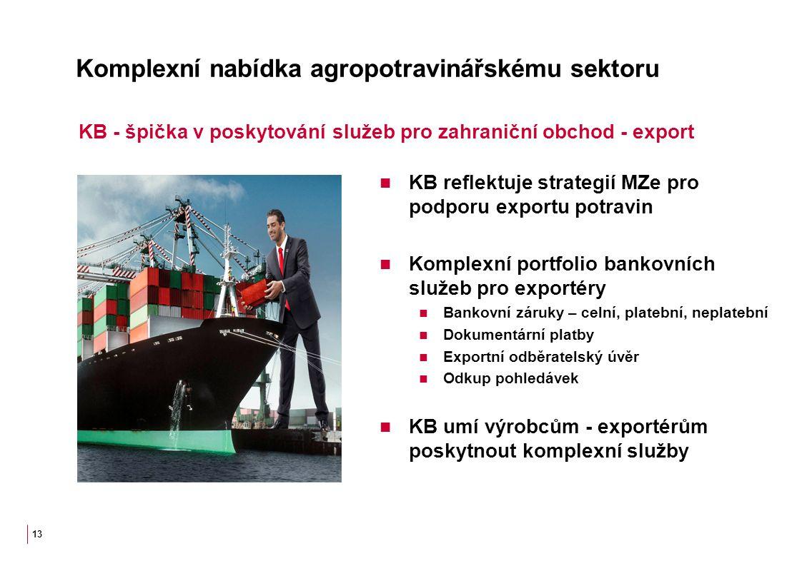 Komplexní nabídka agropotravinářskému sektoru KB reflektuje strategií MZe pro podporu exportu potravin Komplexní portfolio bankovních služeb pro exportéry Bankovní záruky – celní, platební, neplatební Dokumentární platby Exportní odběratelský úvěr Odkup pohledávek KB umí výrobcům - exportérům poskytnout komplexní služby 13 KB - špička v poskytování služeb pro zahraniční obchod - export