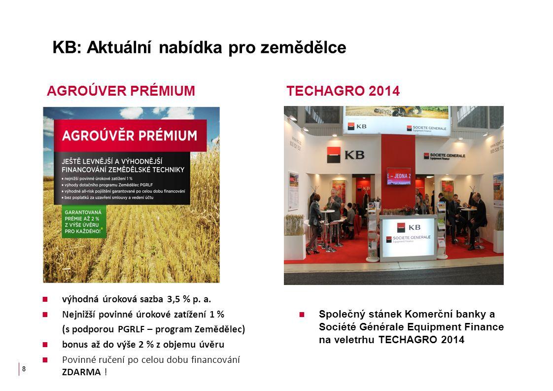 KB: Aktuální nabídka pro zemědělce Společný stánek Komerční banky a Société Générale Equipment Finance na veletrhu TECHAGRO 2014 8 AGROÚVER PRÉMIUM TECHAGRO 2014 výhodná úroková sazba 3,5 % p.