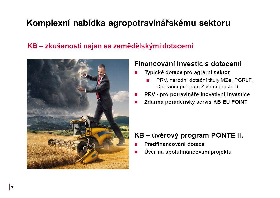 Komplexní nabídka agropotravinářskému sektoru Financování investic s dotacemi Typické dotace pro agrární sektor PRV, národní dotační tituly MZe, PGRLF, Operační program Životní prostředí PRV - pro potravináře inovativní investice Zdarma poradenský servis KB EU POINT KB – úvěrový program PONTE II.