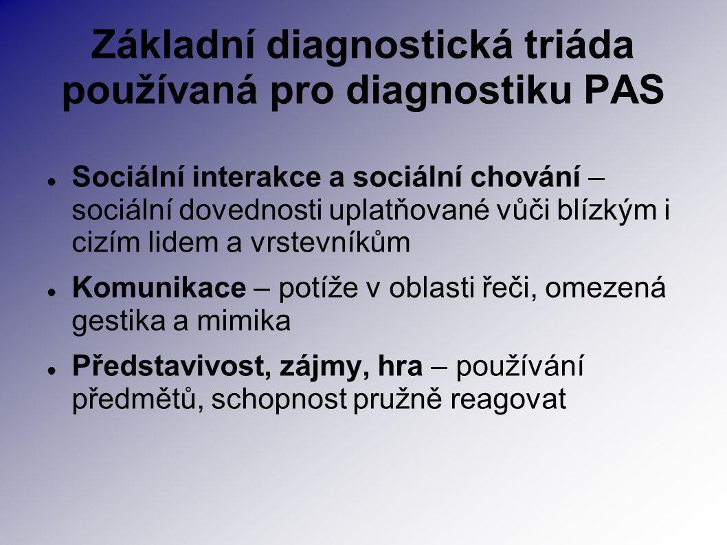Základní diagnostická triáda používaná pro diagnostiku PAS Sociální interakce a sociální chování – sociální dovednosti uplatňované vůči blízkým i cizí