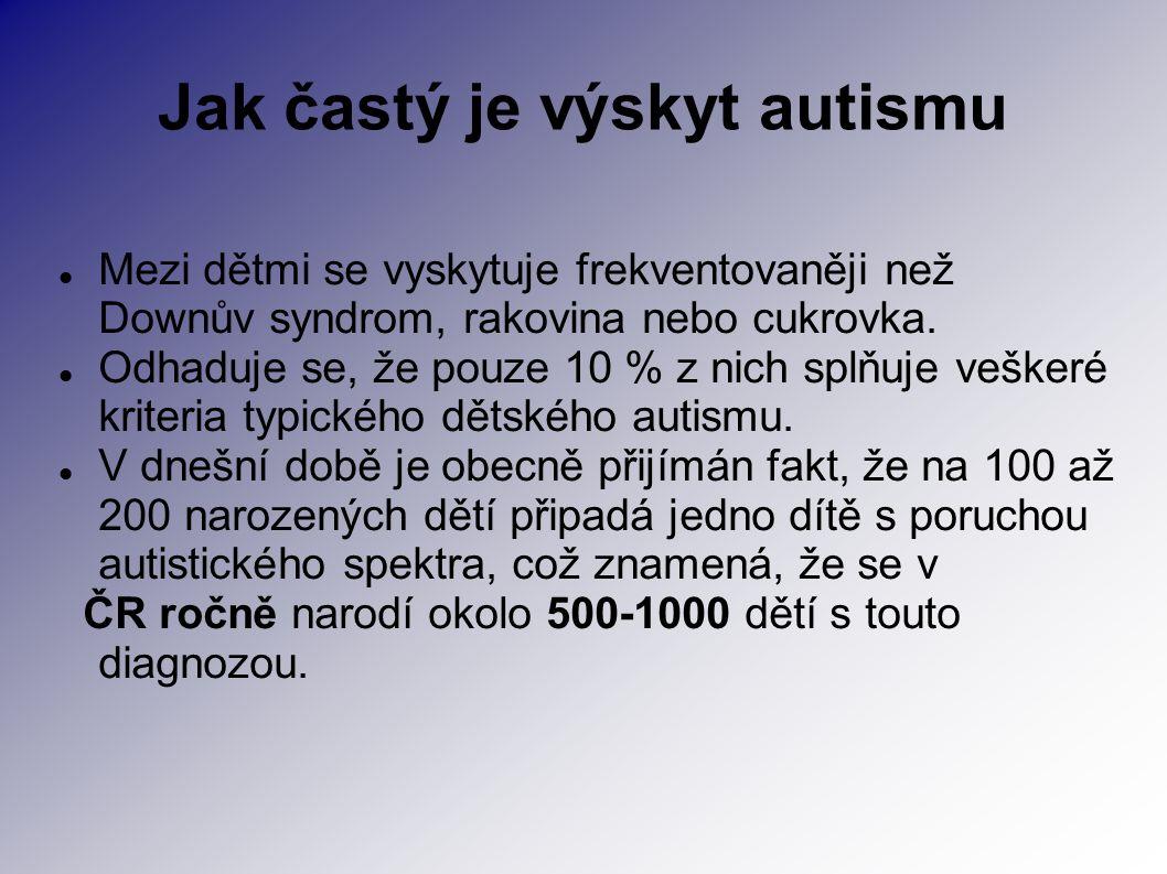 Jak častý je výskyt autismu Mezi dětmi se vyskytuje frekventovaněji než Downův syndrom, rakovina nebo cukrovka. Odhaduje se, že pouze 10 % z nich splň