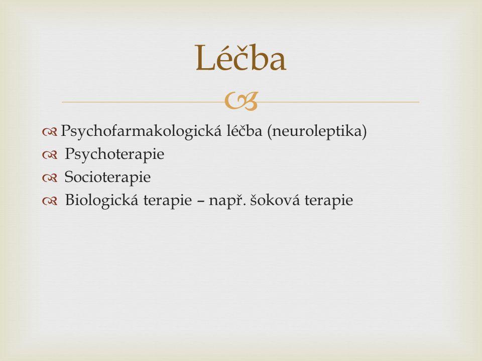   Psychofarmakologická léčba (neuroleptika)  Psychoterapie  Socioterapie  Biologická terapie – např.