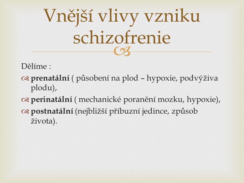  Dělíme :  prenatální ( působení na plod – hypoxie, podvýživa plodu),  perinatální ( mechanické poranění mozku, hypoxie),  postnatální (nejbližší