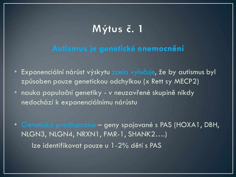 Autismus je genetické onemocnění Exponenciální nárůst výskytu zcela vylučuje, že by autismus byl způsoben pouze genetickou odchylkou (x Rett sy MECP2) nauka populační genetiky - v neuzavřené skupině nikdy nedochází k exponenciálnímu nárůstu Genetická predispozice – geny spojované s PAS (HOXA1, DBH, NLGN3, NLGN4, NRXN1, FMR-1, SHANK2….) lze identifikovat pouze u 1-2% dětí s PAS