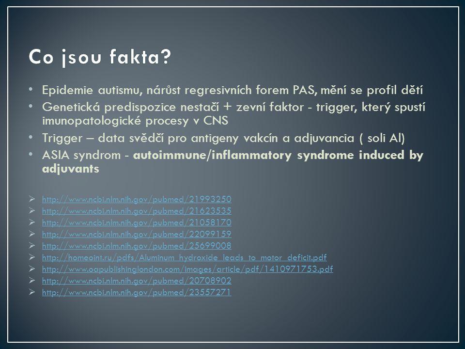 Epidemie autismu, nárůst regresivních forem PAS, mění se profil dětí Genetická predispozice nestačí + zevní faktor - trigger, který spustí imunopatologické procesy v CNS Trigger – data svědčí pro antigeny vakcín a adjuvancia ( soli Al) ASIA syndrom - autoimmune/inflammatory syndrome induced by adjuvants  http://www.ncbi.nlm.nih.gov/pubmed/21993250 http://www.ncbi.nlm.nih.gov/pubmed/21993250  http://www.ncbi.nlm.nih.gov/pubmed/21623535 http://www.ncbi.nlm.nih.gov/pubmed/21623535  http://www.ncbi.nlm.nih.gov/pubmed/21058170 http://www.ncbi.nlm.nih.gov/pubmed/21058170  http://www.ncbi.nlm.nih.gov/pubmed/22099159 http://www.ncbi.nlm.nih.gov/pubmed/22099159  http://www.ncbi.nlm.nih.gov/pubmed/25699008 http://www.ncbi.nlm.nih.gov/pubmed/25699008  http://homeoint.ru/pdfs/Aluminum_hydroxide_leads_to_motor_deficit.pdf http://homeoint.ru/pdfs/Aluminum_hydroxide_leads_to_motor_deficit.pdf  http://www.oapublishinglondon.com/images/article/pdf/1410971753.pdf http://www.oapublishinglondon.com/images/article/pdf/1410971753.pdf  http://www.ncbi.nlm.nih.gov/pubmed/20708902 http://www.ncbi.nlm.nih.gov/pubmed/20708902  http://www.ncbi.nlm.nih.gov/pubmed/23557271 http://www.ncbi.nlm.nih.gov/pubmed/23557271