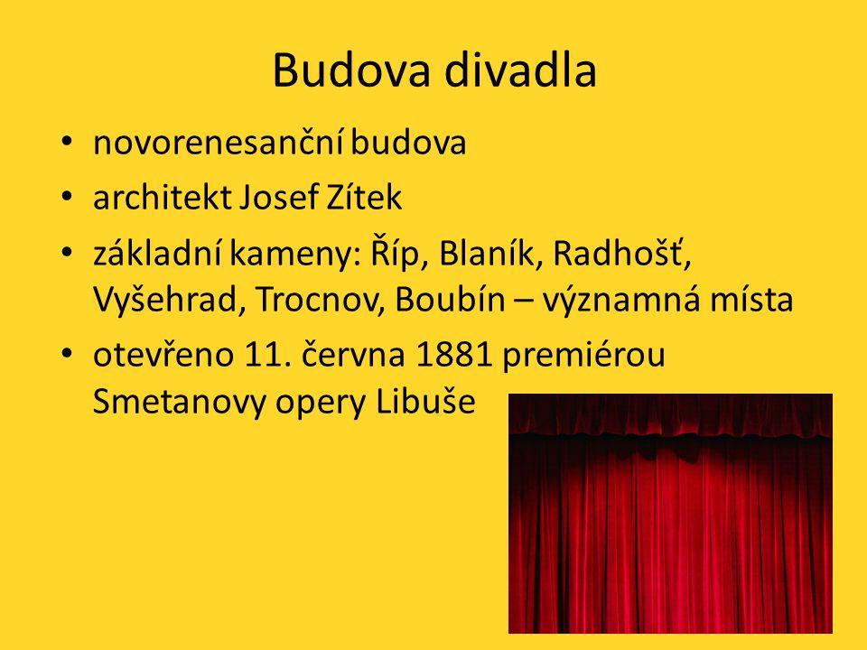 Budova divadla novorenesanční budova architekt Josef Zítek základní kameny: Říp, Blaník, Radhošť, Vyšehrad, Trocnov, Boubín – významná místa otevřeno 11.