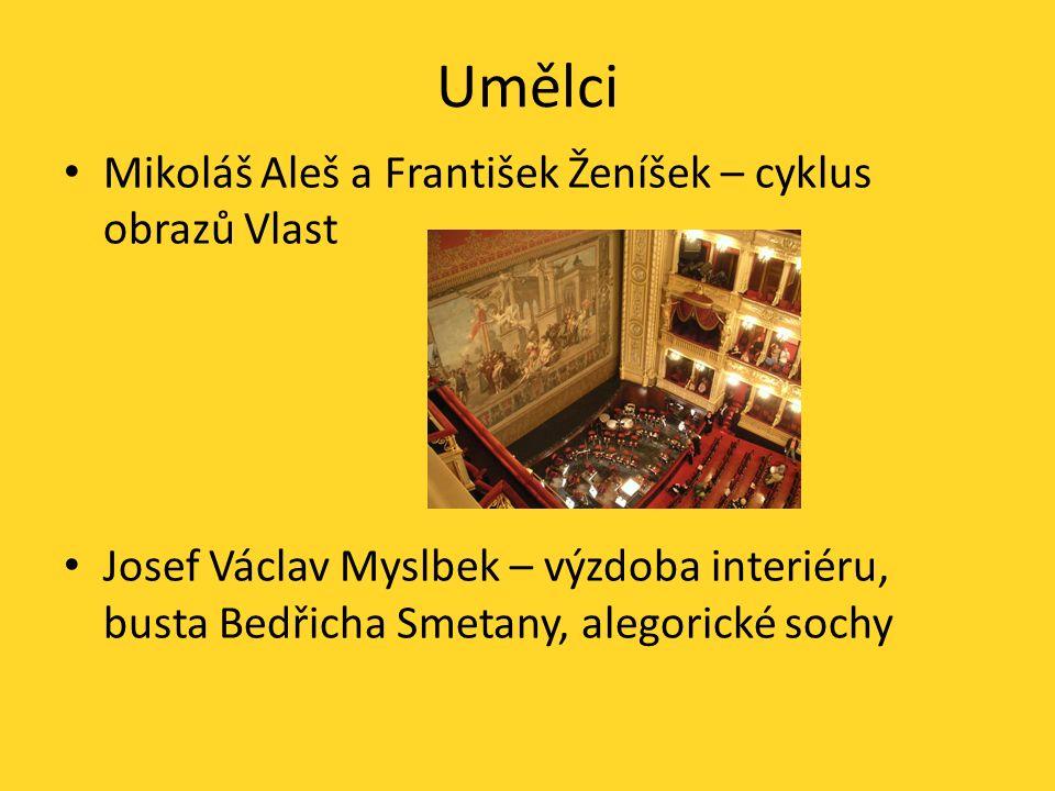 Umělci Mikoláš Aleš a František Ženíšek – cyklus obrazů Vlast Josef Václav Myslbek – výzdoba interiéru, busta Bedřicha Smetany, alegorické sochy
