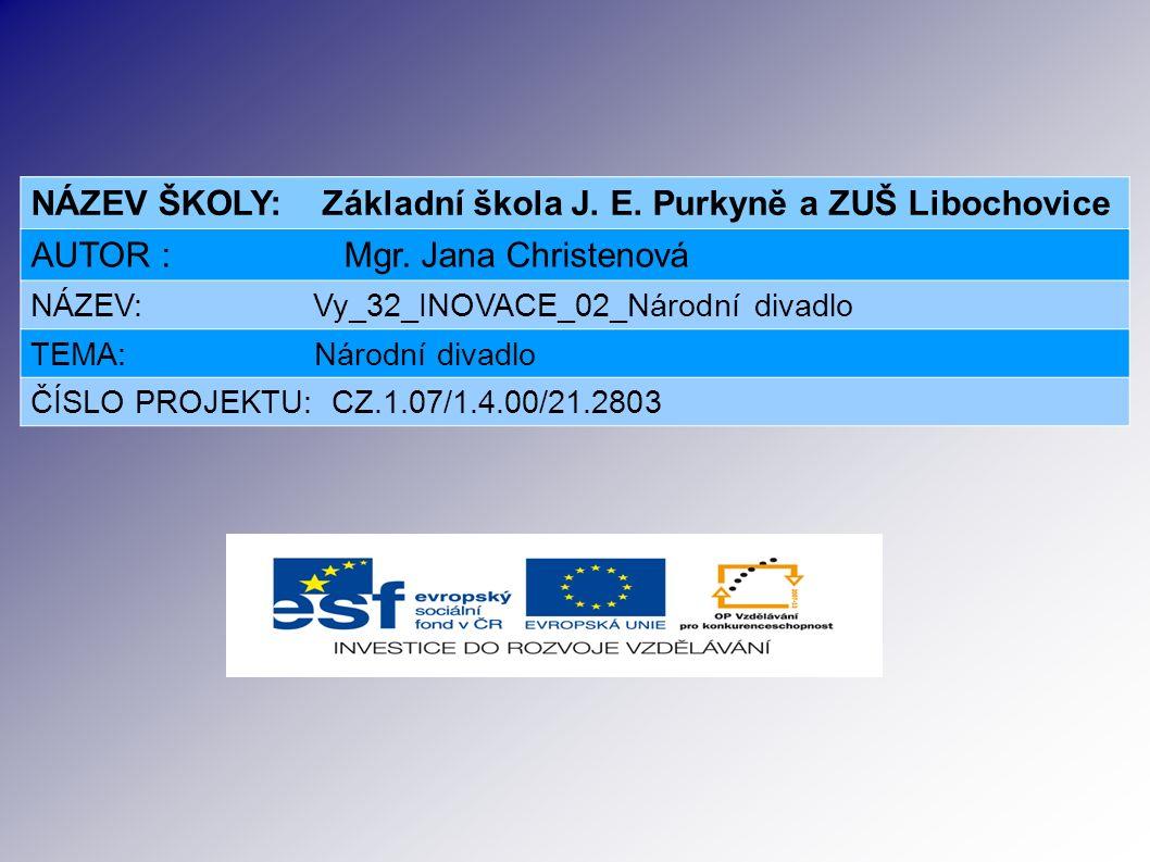 NÁZEV ŠKOLY: Základní škola J. E. Purkyně a ZUŠ Libochovice AUTOR : Mgr.