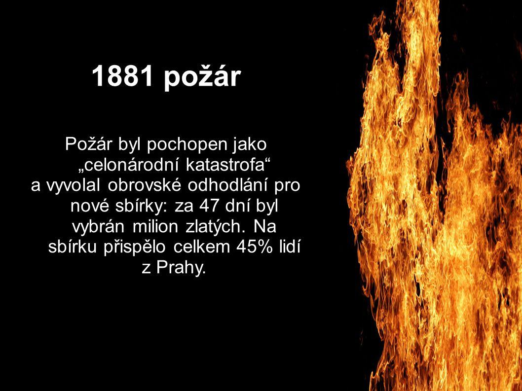"""1881 požár Požár byl pochopen jako """"celonárodní katastrofa a vyvolal obrovské odhodlání pro nové sbírky: za 47 dní byl vybrán milion zlatých."""