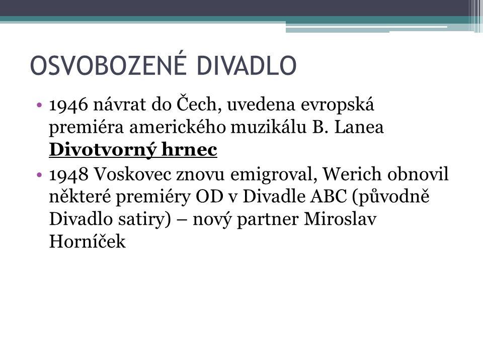 OSVOBOZENÉ DIVADLO 1946 návrat do Čech, uvedena evropská premiéra amerického muzikálu B. Lanea Divotvorný hrnec 1948 Voskovec znovu emigroval, Werich