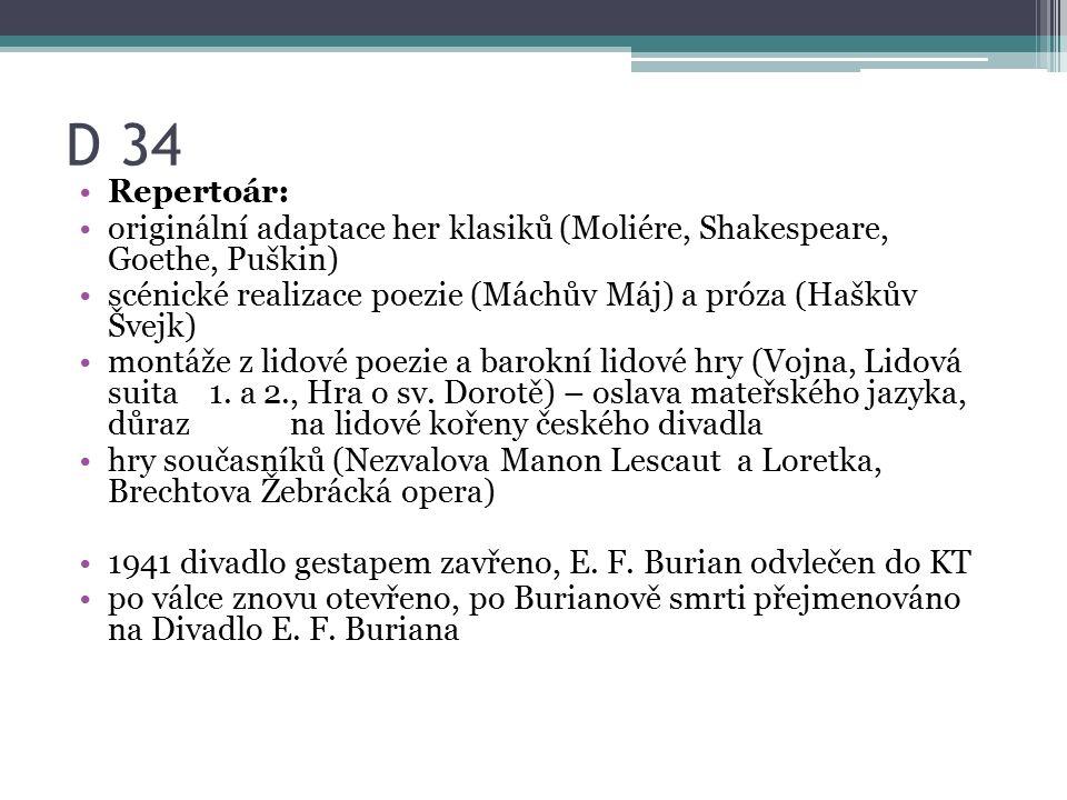 D 34 Repertoár: originální adaptace her klasiků (Moliére, Shakespeare, Goethe, Puškin) scénické realizace poezie (Máchův Máj) a próza (Haškův Švejk) montáže z lidové poezie a barokní lidové hry (Vojna, Lidová suita 1.