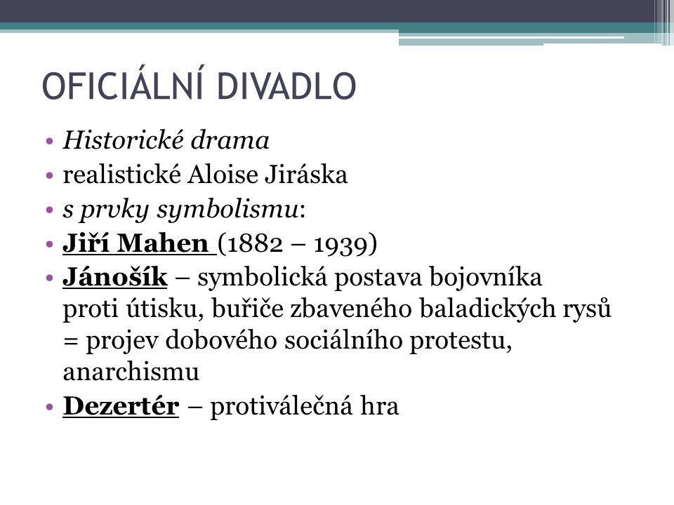 OFICIÁLNÍ DIVADLO Historické drama realistické Aloise Jiráska s prvky symbolismu: Jiří Mahen (1882 – 1939) Jánošík – symbolická postava bojovníka prot