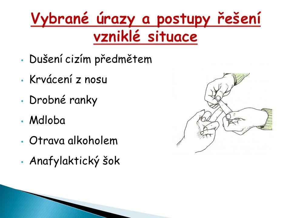 Dušení cizím předmětem Krvácení z nosu Drobné ranky Mdloba Otrava alkoholem Anafylaktický šok