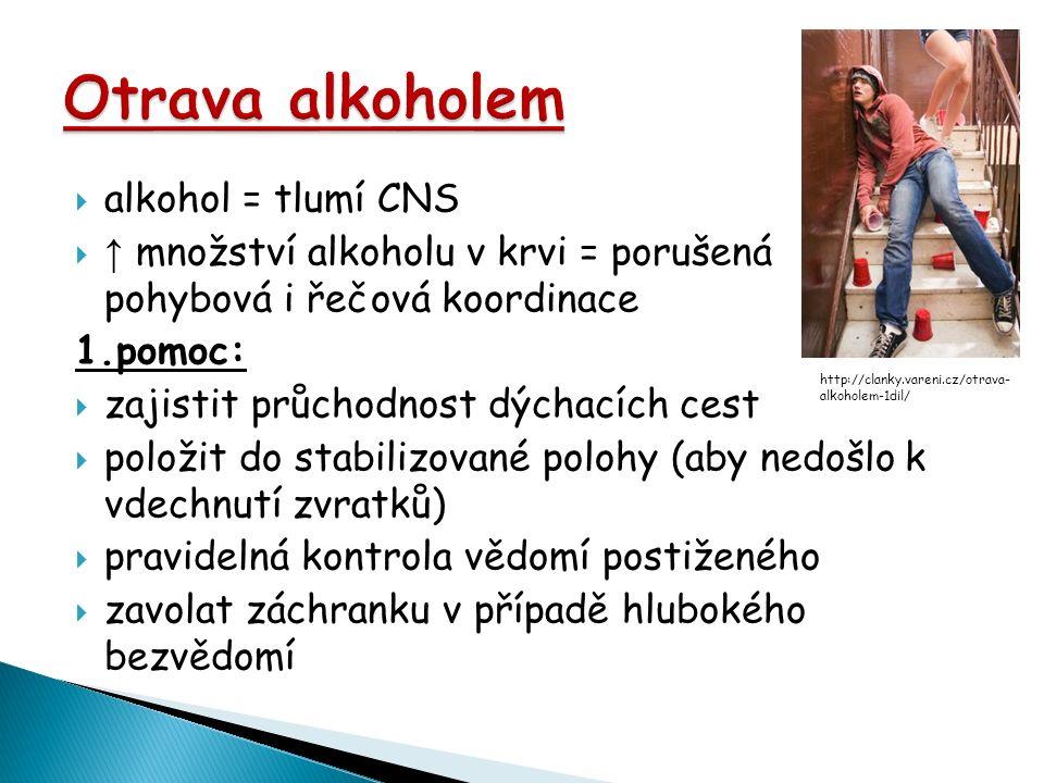  alkohol = tlumí CNS  ↑ množství alkoholu v krvi = porušená pohybová i řečová koordinace 1.pomoc:  zajistit průchodnost dýchacích cest  položit do stabilizované polohy (aby nedošlo k vdechnutí zvratků)  pravidelná kontrola vědomí postiženého  zavolat záchranku v případě hlubokého bezvědomí http://clanky.vareni.cz/otrava- alkoholem-1dil/