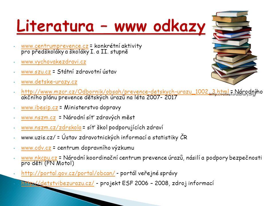 www.centrumprevence.cz = konkrétní aktivity pro předškoláky a školáky I. a II. stupně www.centrumprevence.cz www.vychovakezdravi.cz www.szu.cz = Státn